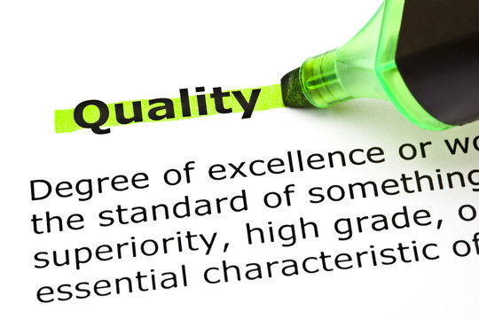 Dictionary definition of the word Quality highlighted in green