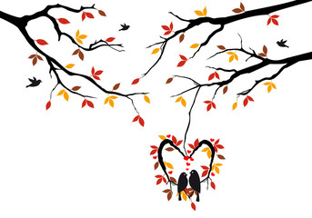 Aluminium Prints Birds in cages birds on autumn tree in heart nest, vector