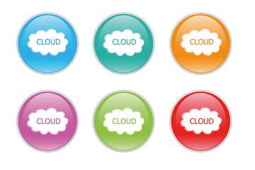 Iconos de colores para la Web con un símbolo de la nube