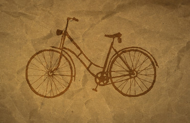 wrinkled paper craft textur, bicycle
