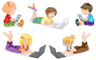 kids with laptop