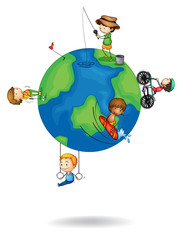 kids playing on earth globe
