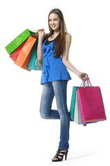 casual woman with shopping bag