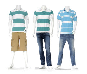 male mannequin dressed in jeans with striped shirt