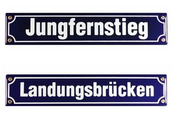 Strassenschild Jungfernstieg Landungsbrücken
