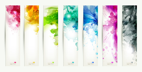 Fototapeta set of seven varicolored banners, abstract headers with blots obraz