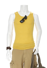 male mannequin dressed in t- shirt with bag