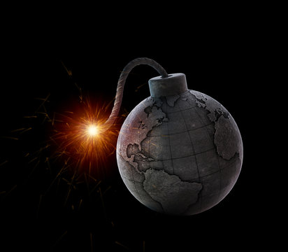 Vintage bomb with the world map