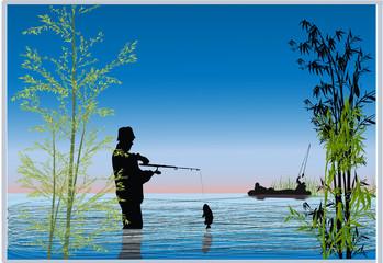 fishermen in blue lake illustration