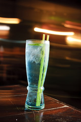 Blue cocktail with moving background