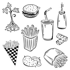 Fast food, Kartoffeln, Pommes, vector set