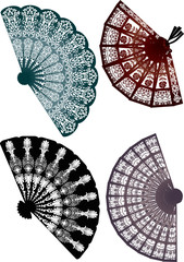four decorated fans isolated on white