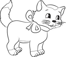 Outlined cute cartoon cat. Vector illustration.