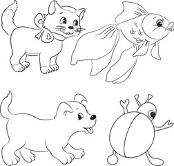 Vector set of outlined cartoon animals. Coloring book.