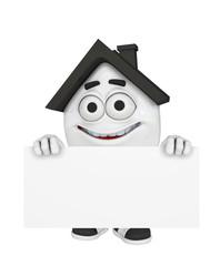 3D Haus mit Werbetafel - Schwarz