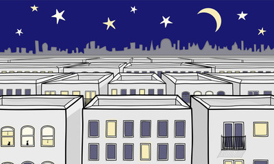 Night time Cartoon Cityscape illustration