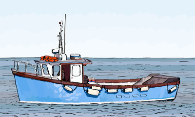 Hand sketched drawing of a fishing boat with color fill