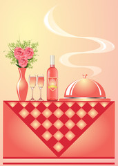 illustration vase with flower wine with goblet and tray for hot