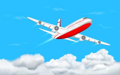 Spoed Fotobehang Vliegtuigen, ballon Airplane flying in Sky