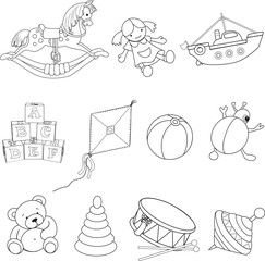 Set of outlined baby's toys .