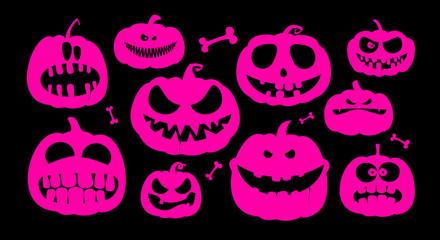 Halloween pumpkins characters.