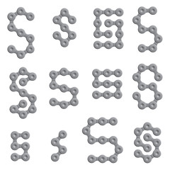 Abstract Letter S - Chain Sign Set