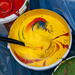 Paint buckets with colors