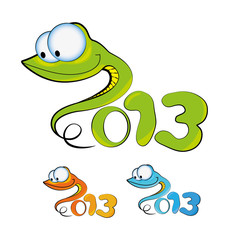 Cartoon illustration of a snakes (symbol 2013)