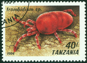 stamp printed in Tanzania shows image of trombidium sp