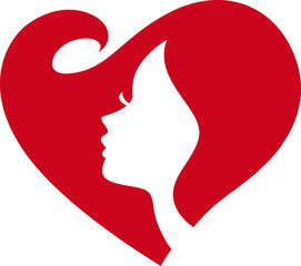 love heart shape woman face Silhouette