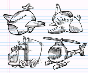 Cute Sketch Doodle Transportation Vector set