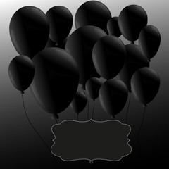 Black balloons  with frame