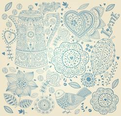 Fototapete - Vector delicate floral vintage background
