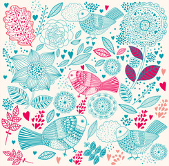 Fototapete - Vector delicate floral background