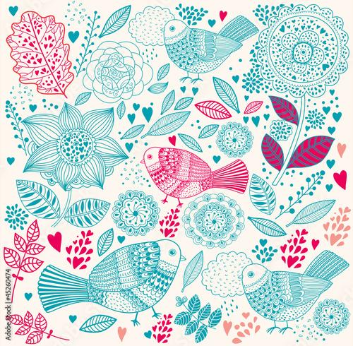 Fototapete Vector delicate floral background