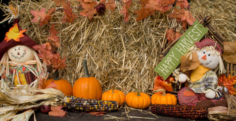 Autumn decoration with scarecrow