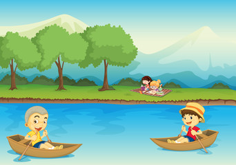 kids and boat
