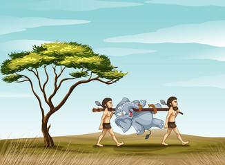 mens and elephant