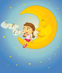 Girl and moon