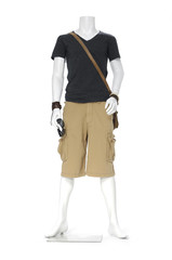 full length male mannequin dressed in t- shirt with short pants