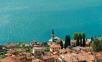 Blue water of Lake Como