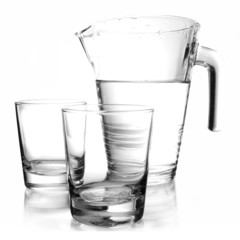 water-bottle and two glasses