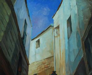 night landscape in gothic quarter of barcelona,  illustration, p