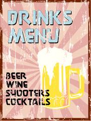Drinks menu, vintage style, free copy space