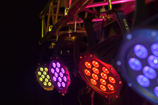 LED spotlight on truss tri-led perspective