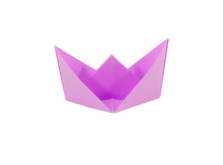 Fold the paper in purple on a white background