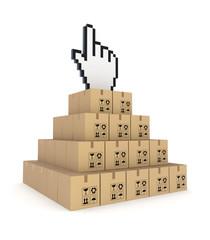 Cursor on a top of pyramid made of carton boxes.
