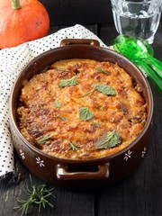 Baked pumpkin and lentil