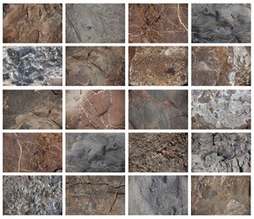 Stone texture with different patterns on surfaces