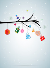 merry christmas tree and happy new year background